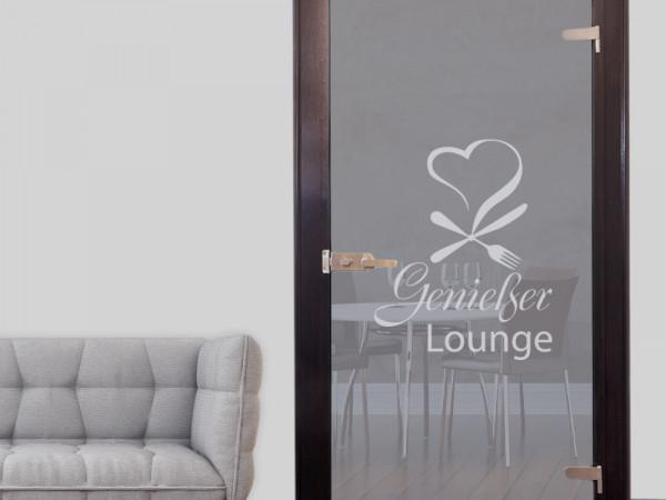 Glastür Aufkleber Fensterfolie für Küche Spruch Genießer Lounge