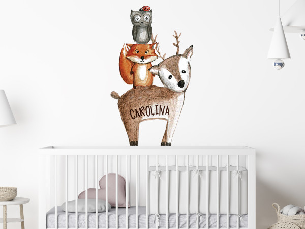 Wandtattoo Waldtiere mit Namen personalisiert, Lustige Pyramide mit Tieren