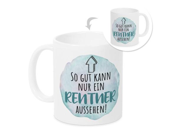 Tasse, Geschenk Rente Rentenbeginn Mann, Ruhestand Rentner Kaffeebecher mit lustigem Spruch