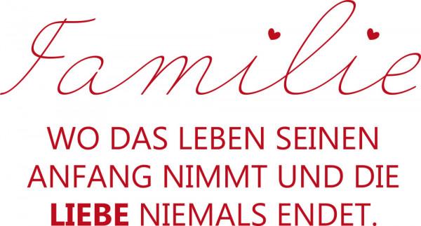 Wandtattoo Familie für Wohnzimmer Spruch Familie Liebe Herzen