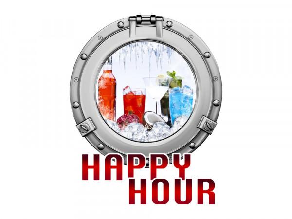 Aufkleber für Kühlschrank Happy Hour Bullauge Getränke Eis