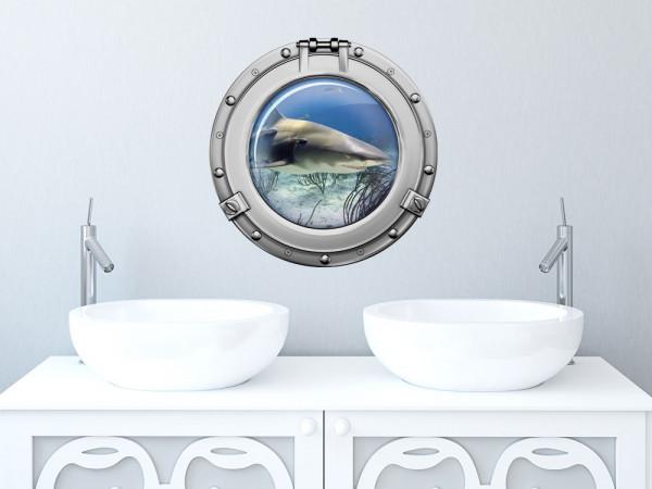 Wandsticker Wandtattoo Badezimmer Bullauge weißer Hai Meer WC