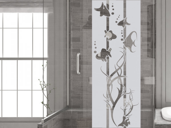 Fensterfolie Duschkabine für Badezimmer Unterwasser Fische maritim