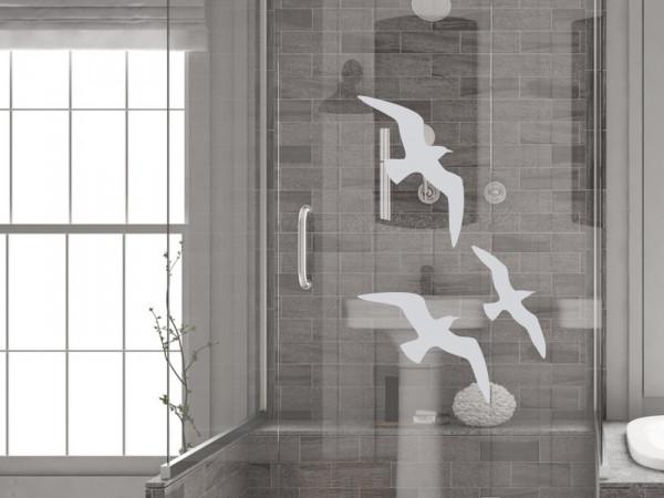 Fensterfolie für Badezimmer Vögel Möwen als Fensteraufkleber
