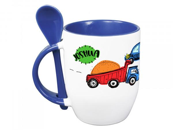 Blaue Tasse mit Löffel personalisiert mit Namen und Autos